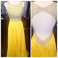 New Style Yellow Prom Dresses 2017 Fashion Backless Sparkle Beads Chiffon Evening Gowns Open Backs Party Gown For Teens Yellow Prom Dresses 2017 Prom Dress Sparkle Evening Gowns Online with 212.19/Piece on Meetdresses's Store | DHgate.com