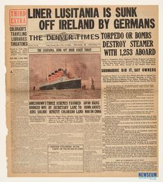 Sinking of the Lusitania: The Denver Times, 5/8/1915