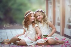like the flower petals scattered about Little Girl Photography, Sister Photography, Children Photography, Little Girl Pictures, Sister Pictures, Sister Poses, Sibling Poses, Siblings, Girl Photo Shoots