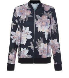 Black Oversized Floral Print Bomber Jacket | New Look