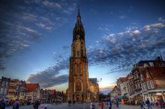 Delft Markt met de grote kerk