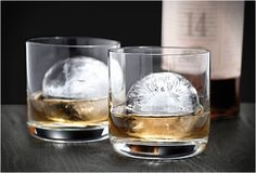 The Sphere Ice Molds makes ice cubes with less surface area which allows them to melt slower.