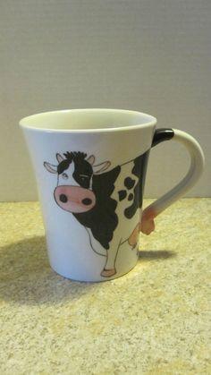 Pier One Cow Mug Coffee Cup Large 18oz. Hand Painted Stoneware #PierOne