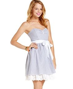 Trixxi Juniors Dress, Strapless Seersucker Sweetheart - Juniors Dresses - Macy's