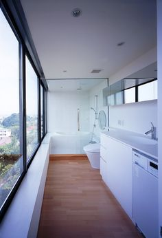 shipping container bathroom with a view
