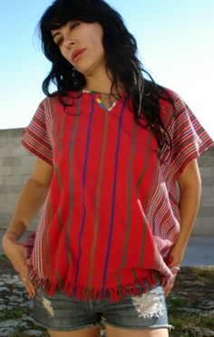 Gypsy Vintage Huipil Poncho or Dress Beautiful Detailed by Vdingy