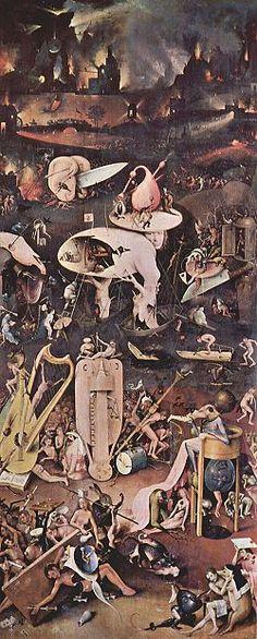 """Hieronymus Bosch  l'Enfer (aile droite) huile sur bois musée du Prado, Madrid-  Détail du tryptique """"Le jardin des délices"""". D'inspiration résolument ésotérique, Bosh met en oeuvre un fantastique alimenté à un grostesque déconcertant qui illustre la lutte de l'homme et du Malin."""