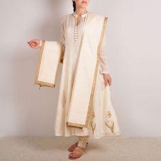 Ivory Chanderi Block Printed Kalidar Kurta Set  www.tadpolestore.com  #IndianEthnic #designer #women #fashion #clothing #kurts #printed #chanderi