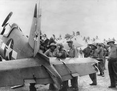 A badly damaged F4U-1A Corsair of Marine Squadron 216 flown by a wounded Lt Robert Marshall managed to return safely to Torokina, Bougainvil...