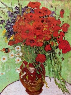 Red Poppies and Daisies Vincent van Gogh art for sale at Toperfect gallery. Buy the Red Poppies and Daisies Vincent van Gogh oil painting in Factory Price. Art Van, Van Gogh Art, Vincent Van Gogh, Art Floral, Vintage Floral, Unique Vintage, Fleurs Van Gogh, Van Gogh Flowers, Flowers Vase