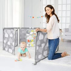 Skip Hop Baby Playpen: Expandable or Wall Mounted Play Yard with Clip-On Play Surface (This is an affiliate pin) #DogFence Sun Mirror, Baby Playpen, Baby Gates, Support Mural, Play Spaces, Stylish Baby, Baby Safety, Panel Doors, Entry Doors