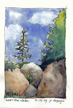Montecito 2009 near the lake Watercolor Sketchbook, Watercolor Projects, Artist Sketchbook, Pen And Watercolor, Watercolor Trees, Watercolor Landscape, Watercolor Illustration, Landscape Art, Floral Watercolor