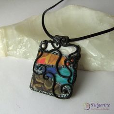Four Elements filigree polymer clay pendant necklace by Cate van Alphen (Fulgorine)