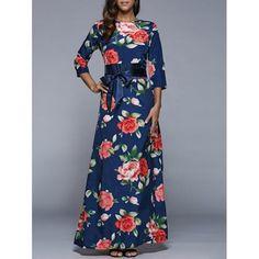 3/4 Sleeve Floral Print High Waist Dress