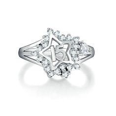 Women Wedding Rings Silver Plated Five Star CZ Personalized Rings Custom Made Size 85 by Aienid >>> Want to know more, click on the image.