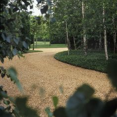 Birch and vinca define gravel drive,Peter Fudge. Good for driveway design, front of house Cool Landscapes, Beautiful Landscapes, Beautiful Gardens, Driveway Design, Driveway Landscaping, Gravel Driveway, Landscaping Tips, Garden Pool, Garden Paths