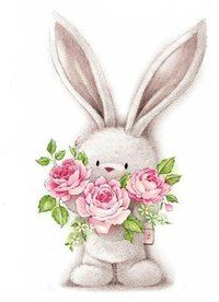 bunny rabbit and flowers cartoon image for craft Tatty Teddy, Bunny Art, Cute Bunny, Bunny Rabbit, Cute Images, Cute Pictures, Bing Images, Animal Drawings, Cute Drawings