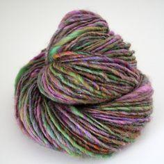 "SpunRightRound on Etsy. ""Pixie Dust"" hand-dyed, hand-spun Wensleydale wool with glitz."