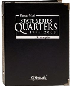 """State Quarter Series P and D Mint 1999-2008 H.E. Harris Black Album 8HRS2601  Coins are secure in the page by clear acetate sleeves that allow for viewing both sides of the coins.   This 5-Page album displays both the Philadelphia and Denver Mint issued coins from 1999-2008 only.  New Condition Dimensions    9.4"""" x 8"""" 8HRS2601 ISBN 0937458708 ISBN 9780937458709 UPC 02807408857"""