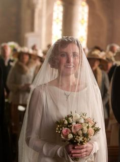 Lady Edith in her wedding dress