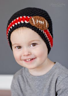 Beanie Football Beanie Crochet Beanie Hat by LittleMommaBoutique, $22.50
