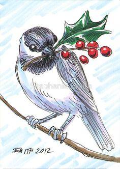 Image result for christmas chickadee drawings
