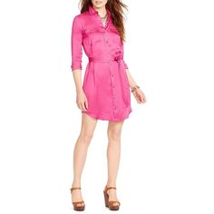 Lauren Ralph Lauren Petite Military Zip-Front Shirtdress ($56) ❤ liked on Polyvore featuring dresses, accent pink, petite, zip front shirt dress, shirt-dress, pink dress, front zipper dress and long shirt dress
