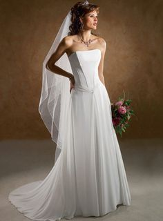 A-line Strapless Chapel Train Chiffon Wedding Dresses
