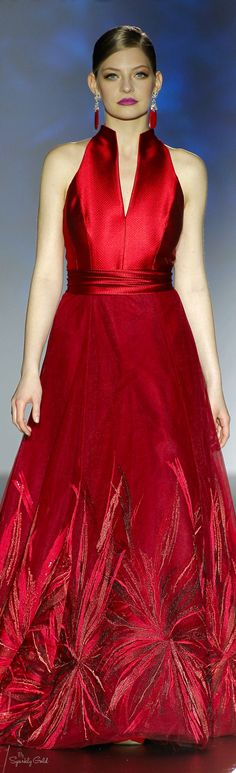 Patricia Avendaño ~ Red Satin Halter Maxi Dress w Embellished Skirt Trim 2016