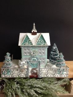 Victorian Glitter House Putz House by PinkHenStudio on Etsy