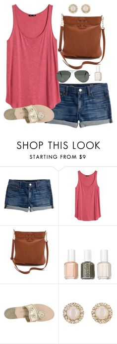 """""""great weather today"""" by classically-preppy ❤ liked on Polyvore featuring мода, J.Crew, H&M, Tory Burch, Ray-Ban, Essie, Jack Rogers и Kate Spade"""