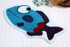 Cotton Washable Tufted Blue Fish Rug, 40 X 75 cm Bath Mat/Children Rug