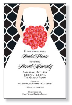 this flat modern bridal shower invitation features a bride holding a bouquet of red roses on
