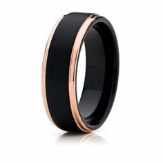 This 8mm two tone rose gold tungsten ring contains a beautiful satin brushed black tungsten center and features remarkable 18k rose gold plated, stepped edges