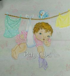 Tendedero pintura textil elaborado por Paty Albri