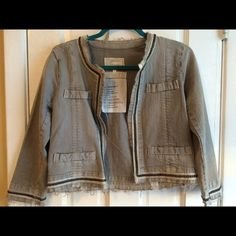 """Current/Elliott """"The cardigan jacket"""" size 0 Pre owned, in excellent condition. Metal chain application. Dry clean only. Amazing jacket!!! Current/Elliott Jackets & Coats Jean Jackets"""