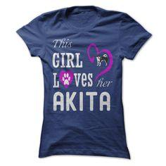 This Girl Love her dog AKITA T Shirt, Hoodie, Sweatshirt