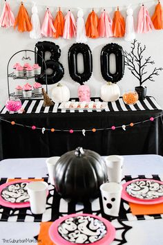 The ulitmate girly pink halloween party ideas for DIY decorations, food, party favors, party activities, pumpkin drip painting, party shirts, sleepover tents and more Pink Halloween, Halloween Crafts For Kids, Halloween Party Decor, Holidays Halloween, Party Activities, Party Favors, Birthday Parties, Girly, Party Ideas