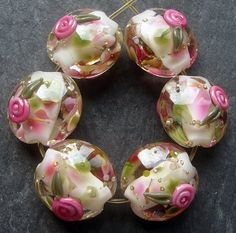 Lampwork Glass Beads 049 Lentils (6) Alpine Blossom with Roses