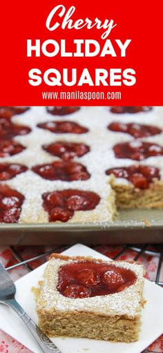 Unbelievably easy recipe for a pretty, super yummy and festive holiday dessert loaded with cherry pie filling. These Easy Cherry Holiday Squares or Bars are perfect to make for that last-minute holiday baking. Serves a crowd! New Year's Desserts, Single Serve Desserts, Trifle Desserts, Winter Desserts, Desserts For A Crowd, Holiday Desserts, Holiday Baking, Christmas Baking, Holiday Recipes