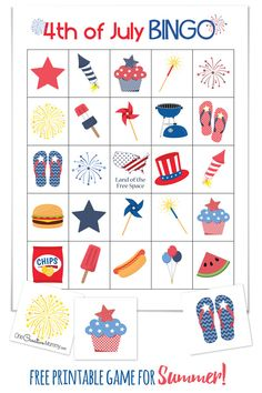 of July Bingo Cool summer game perfect for a of July picnic or family reunion! of July Bingo {} Free Printables - 10 Boards and calling cards 4th July Crafts, Fourth Of July Crafts For Kids, 4th Of July Games, Patriotic Crafts, Patriotic Party, 4th Of July Celebration, 4th Of July Party, July 4th, Picnic Activities