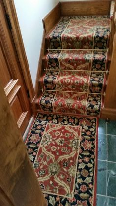 Superior Traditional Patterned Carpet Runner Installed By Riemer Floors.