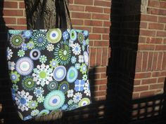 Large Beach Bag in black teal turquoise blue by OliveStreetStudio, $36.00
