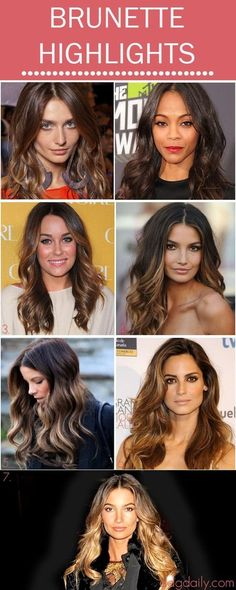 Brunette Highlights Celebrity Inspirations #hairlooks #highlights #beauty #longhair #waves
