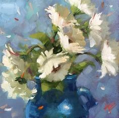 "Daily Paintworks - ""Daisies on Blue"" - Original Fine Art for Sale - © Krista Eaton"