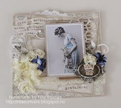 A shabby chic card withPion design - Shoreline treasures
