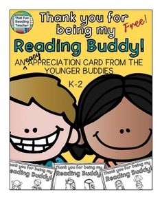 #FREE! Thank you for being my #ReadingBuddy print and go card for end of the year!