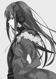 Anime | Girl | Monochrome | Pocky | Headphone