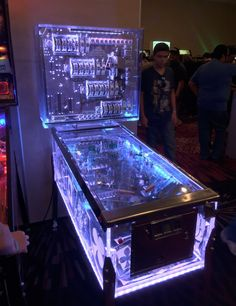Was told this transparent pinball machine would be appreciated here. My photo but not my machine or event (Houston Arcade Expo from Arcade Game Machines, Arcade Machine, Arcade Games, Monkey Memes, Console, Pinball Wizard, Video Game Rooms, Retro Arcade, Great Night