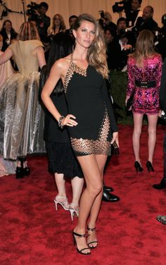 Gisele Bundchen wearing Anthony Vaccarello Fall 2013 dress Stella Luna for Anthony Vaccarello Abisko sandals